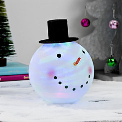 Pre-Lit Acrylic Black Top Hat Snowman Head