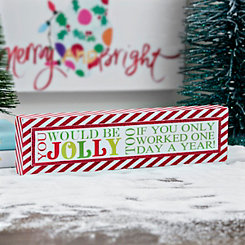 Be Jolly Striped Word Block