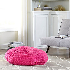 Hot Pink Round Floor Pouf