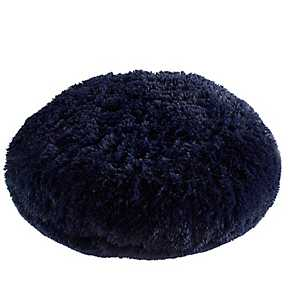 Navy Blue Round Floor Pouf