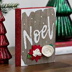 Felt Flowers Noel Block Sign
