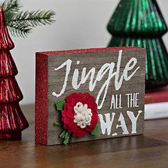 Felt Flowers Jingle Block Sign