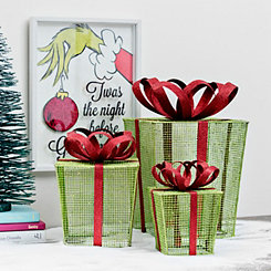 Metal Green Presents With Red Bows, Set of 3