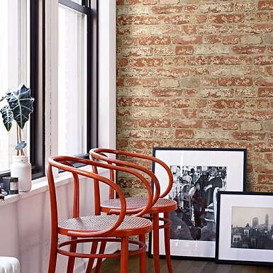 Red Brick Peel And Stick Wall Paper Roll. Clearance   Kirklands