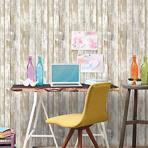 Distressed Wood Peel And Stick Wall Paper Roll