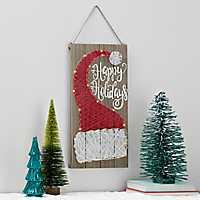 Pre-Lit String Art Santa Hat Wall Plaque