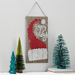 Pre-Lit String Art Santa Hat Wall Plaque