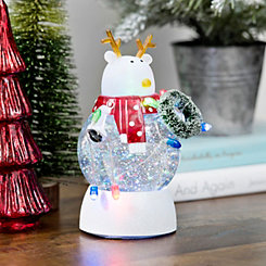 Pre-Lit Waterglobe String Light Reindeer Figurine