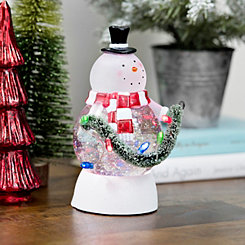 Pre-Lit Waterglobe String Light Snowman Figurine