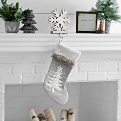 Gray Fur Cuff Christmas Tree Stocking