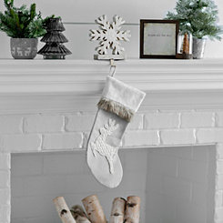 Gray Fur Cuff Reindeer Stocking