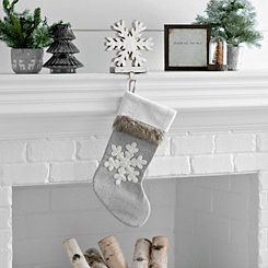 Gray Fur Cuff Snowflake Stocking