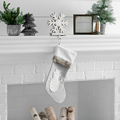 Gray Fur Cuff Snowman Stocking
