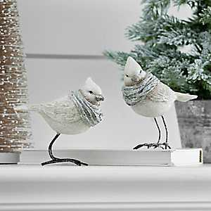 Glitter Gray Bird With Scarves Figurine, Set of 2