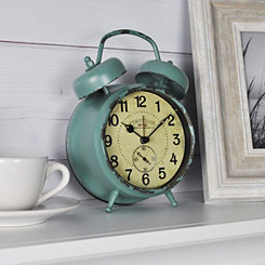 Teal Double Bell Tabletop Alarm Clock