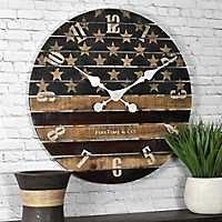 Old Glory Wooden Wall Clock