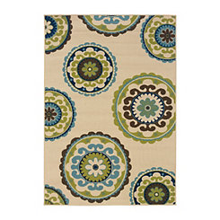 Green Suzani Capetown Accent Rug, 2x4