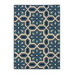 Blue Honeycomb Capetown Area Rug, 5x8