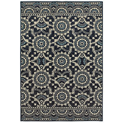 Navy Pattern Lindy Area Rug, 5x8