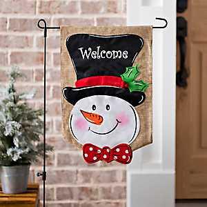 Snowman Welcome Flag