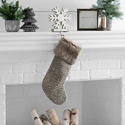 Brown Knit Fur Cuff Stocking