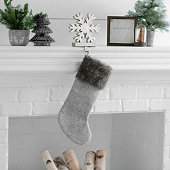 Gray Knit Fur Cuff Stocking