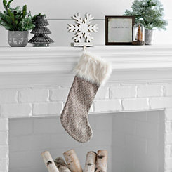 White Knit Fur Cuff Stocking