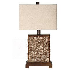 Twisted Rattan Table Lamp with Night Light