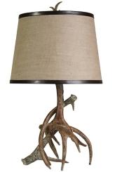 Burlap Antler Table Lamp