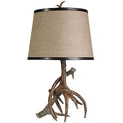 Burlap Antler Table Lamp