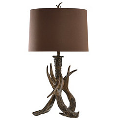 Faux Leather Antler Table Lamp