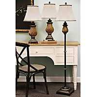 Toffee Twist Floor and Table Lamps, Set of 3