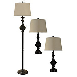 Madison Bronze Floor and Table Lamps, Set of 3