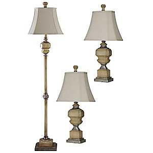Antique Statue Floor and Table Lamps, Set of 3