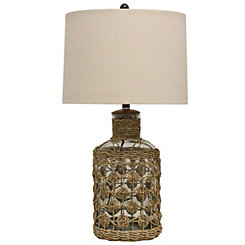 Glass and Woven Seagrass Table Lamp