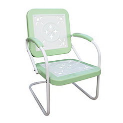 Lime Green and White Retro Metal Chair