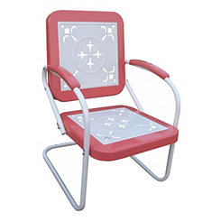Coral Red and White Retro Metal Chair