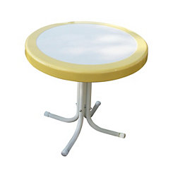 Yellow and White Round Retro Metal Table