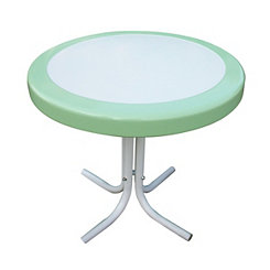 Lime Green and White Round Retro Metal Table