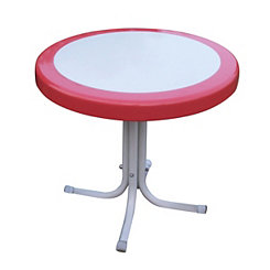 Coral Red and White Round Retro Metal Table