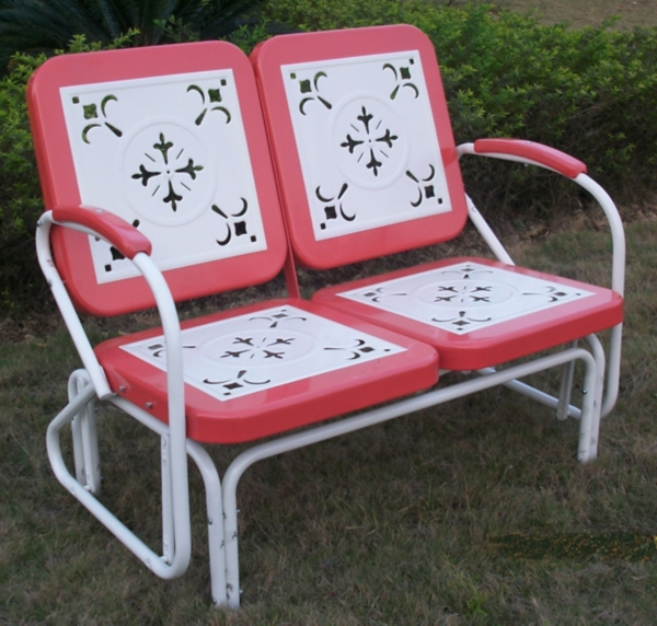 Coral Red and White Retro Metal Glider