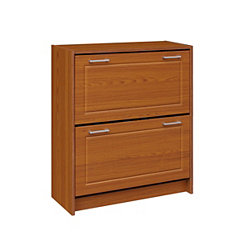 Deluxe Oak 24-Pair Shoe Cabinet
