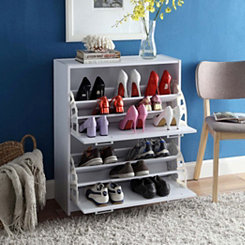 Deluxe White 24-Pair Shoe Cabinet