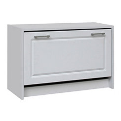 Deluxe White 12-Pair Shoe Cabinet