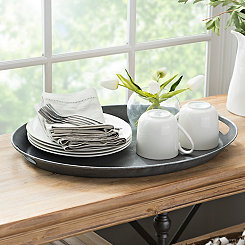 Rustic Metal Oval Tray
