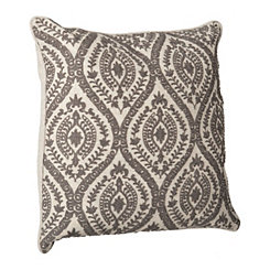 Gray Embroidered Linen Pillow