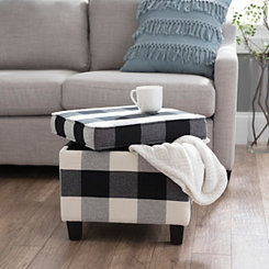 Black and White Buffalo Check Storage Ottoman