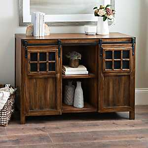 Dark Wood Sliding Door Windowpane Cabinet