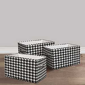 Houndstooth Collapsible Bins, Set of 3