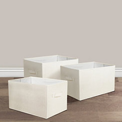 Ivory Collapsible Bins, Set of 3